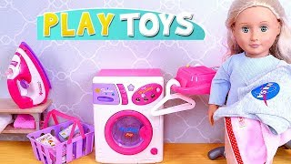Baby Dolls and Laundry Washing Machine Toys Play!