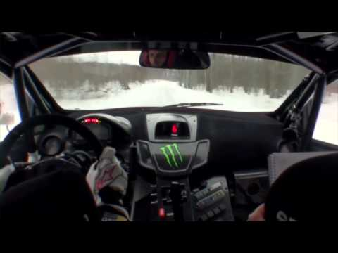 Ken Block goes flat out in his Rally Fiesta on ice during Sno*Drift testing
