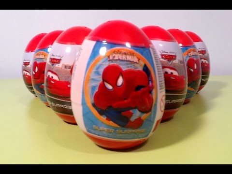 10 Surprise Eggs Unboxing - Pixar Cars, Marvel Ultimate Spiderman Toys