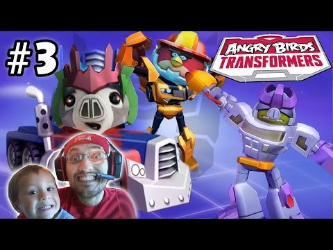 Lets Play Angry Birds Transformers Part 3: Chase & Dad Unlock New Areas, Bludgeon & Heatwave!