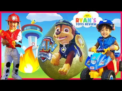 PAW PATROL TOYS Nickelodeon Giant Egg Surprise opening Nick Jr Power Wheels  kids video
