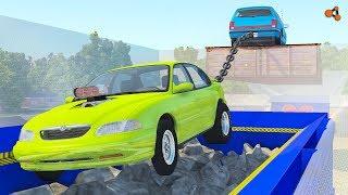 Beamng drive - Tug of War vs Car Shredder crashes (giant chain crashes)
