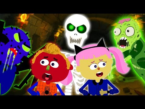 Halloween Songs for Kids With Funny Creatures in Haunted Tunnel