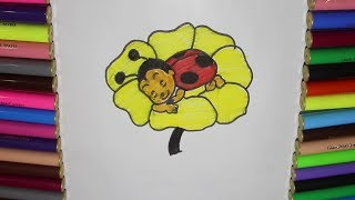 HoneyBee Sleeping In Flower Drawing For Kids Learn Drawing For Preschool Children / HaaHaaKids