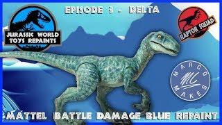 DELTA - Repainting Mattel Battle Damage Blue Toy - Jurassic World Toys Repaints, Raptor Squad