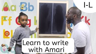 How to Teach Toddler to write easy fast simple. Alphabet Uppercase letters. I - L