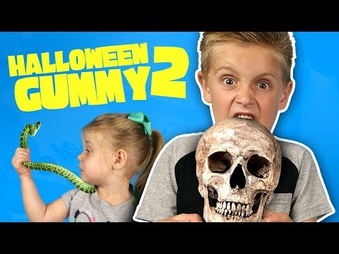 Halloween Gummy Food Challenge #2! Gross Halloween Chocolate + Candy!