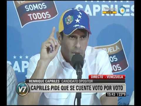 Visión 7: Venezuela: Capriles pide el recuento de votos