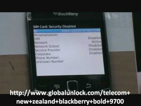 How To Unlock Telecom New Zealand Blackberry Bold 9700