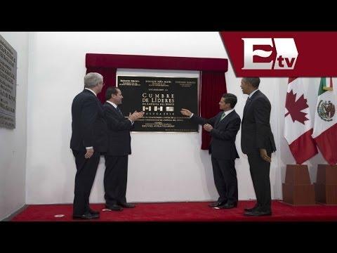 Cumbre Toluca 2014: Líderes develan placa conmemorativa del evento / Vianey Esquinca