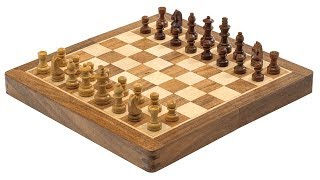 Deluxe Hardwood Folding Travel 10 inch Magnetic Chess Set [RCC064]