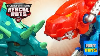 Transformers Dinosaurs battling an Army of Dinosaurs - Transformers Rescue Bots Dinobot Toys