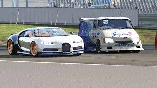Ford Supervan 3 V10 vs Bugatti Chiron at Nurburgring Nordschleife