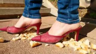 Heel Mules crushing Bread and Cigarette