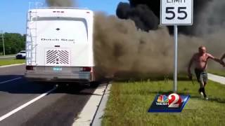 Good Samaritans rescue people from burning RV