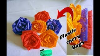 Rose flowers with plastic Carry bags   easy method   Best out of waste