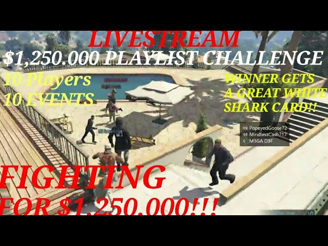 $1,250.000 playlist tournament winner gets $1,250.000!!  Live Stream GTA 5 Online