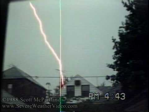 Lightning Striking TV Antenna/Close Strikes & Explosive Thunder- June 1988 NYC
