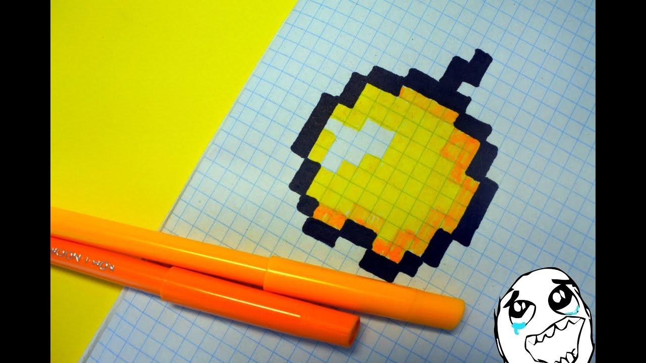 Как нарисовать по клеточкам майнкрафт яблоко
