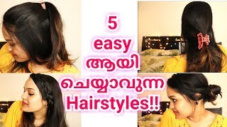 Easy and Quick 5 hairstyles for College,Work & School 2018 | Go Glam with Keerthy