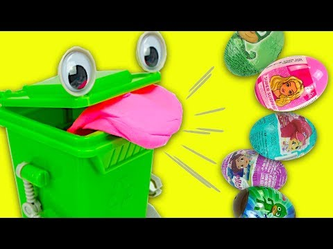 Сюрпризы и игрушки из мультиков, открываем вместе с зеленым контейнером