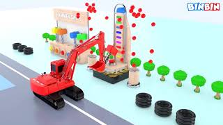 Colors for Children to Learn with Tractor Farm Vehicles Shipping #v | Colours Vegetables For Kids