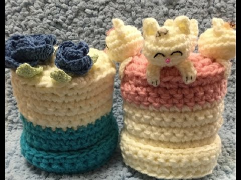 手編みでトイレットペーパーやティッシュケース作り★