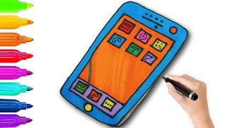 How to Draw Phone | Smartphone for Kids Drawing and Coloring with Colored Markers.