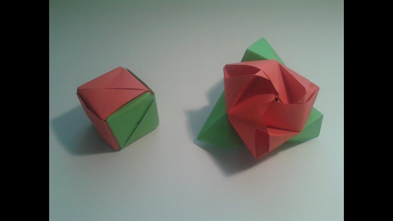 Como hacer un cubo de papel que se transforma en rosa - Como se hacen flores de papel ...