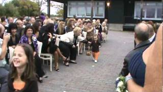 Funny Flower Girls at Fall Wedding