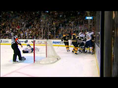 Milan Lucic Drills Ryan Miller 11/12/11 (video)