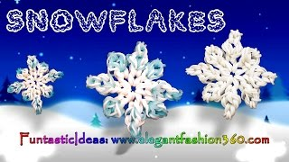 Rainbow Loom Snowflake 2D Charms - How to Loom Bands Holiday/Christmas/Winter/Ornaments