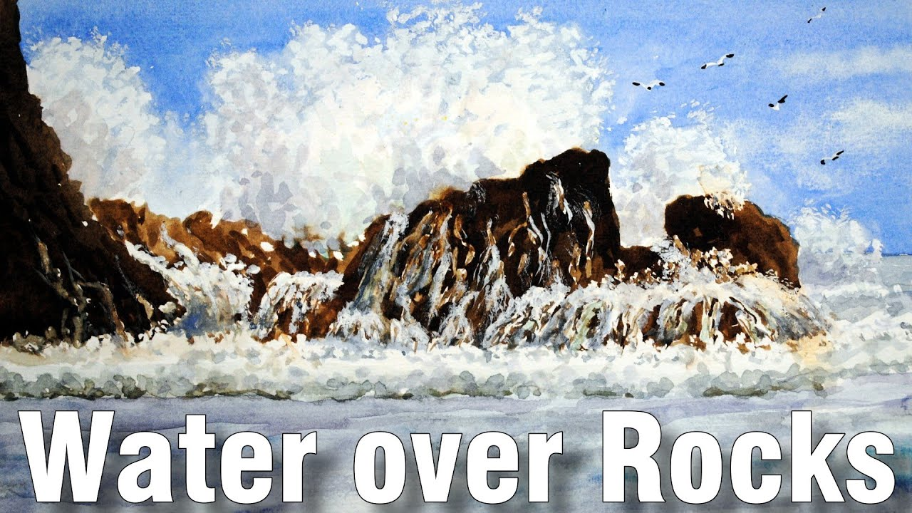 how to paint crashing waves in watercolor 1 - YouTube