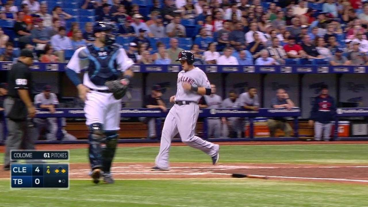 CLE@TB: Kipnis forces in run with hard-hit out