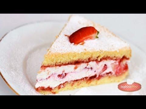 Túrókrémes epertorta videó recept (Strawberry Cake)