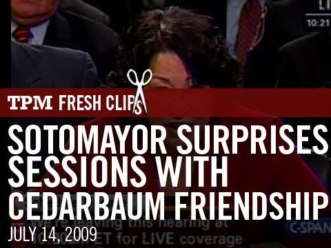 Sotomayor Surprises Sessions with Cedarbaum Friendship Video