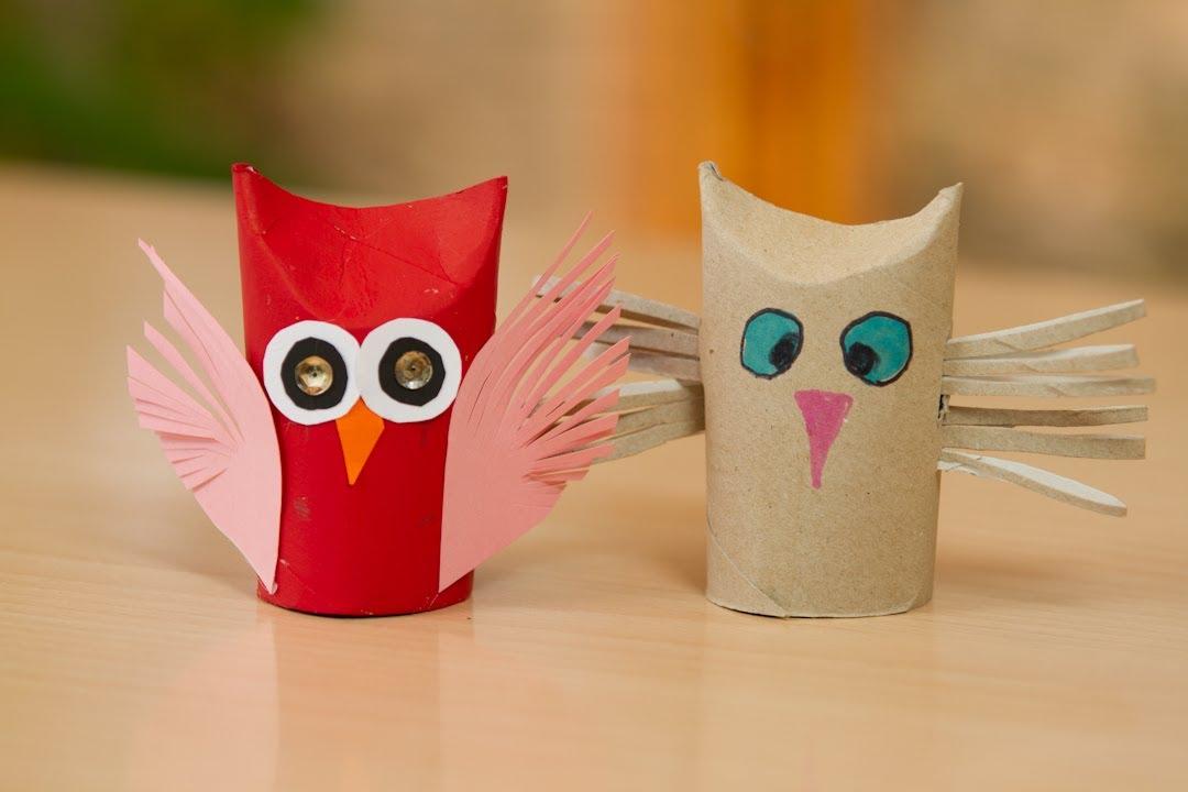 Buho volador de rollo de papel higienico youtube - Que manualidades puedo hacer ...