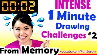 Fast Art Drawing from MEMORY - 1 Minute to Beat REAL TIME Challenge