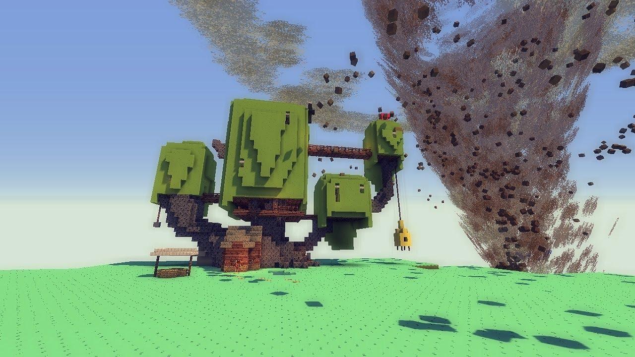 Minecraft TORNADO MOD VS ADVENTURE TIME MAP Tornado
