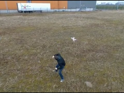 Drone attacks human - filmed by Parrot Bebop Drone