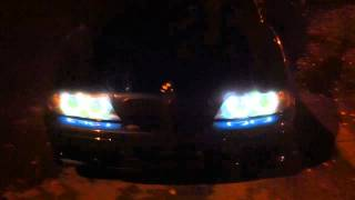 bmw e39 angel eyes and start up (m52b25)