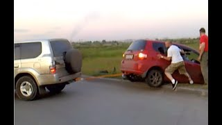 Toyota Prado vs Honda Fit (улетел в овраг)