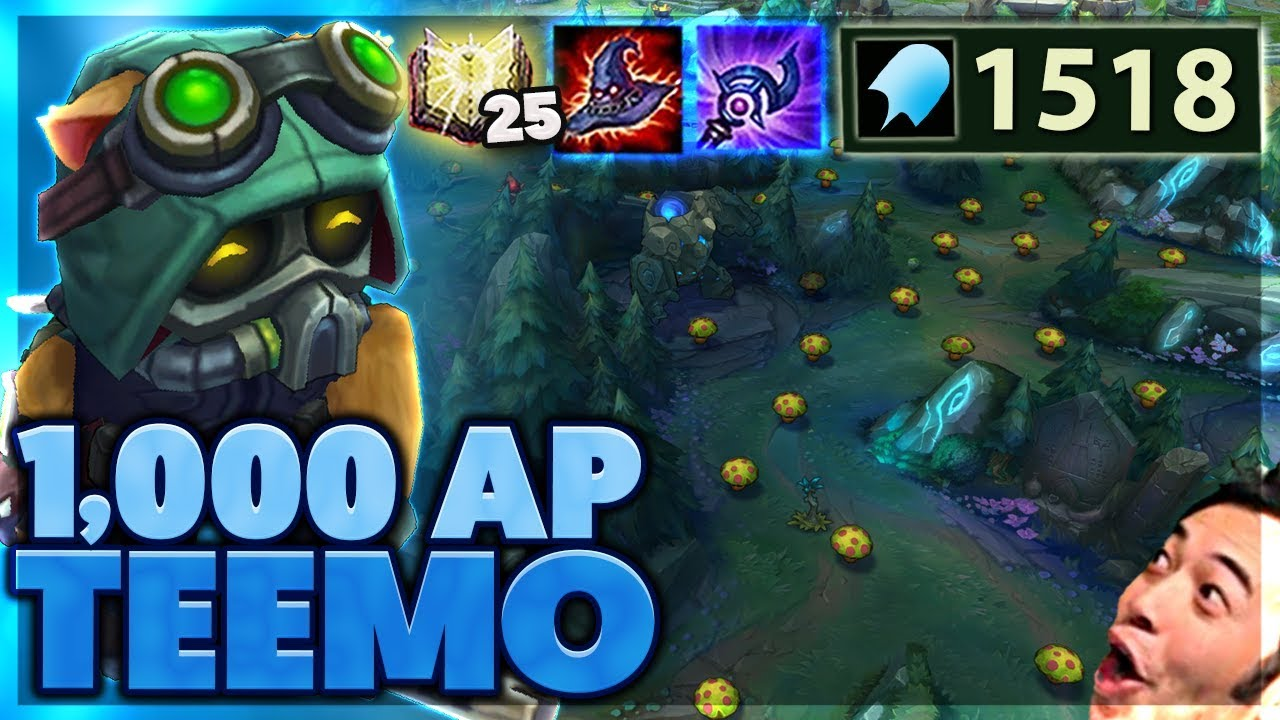 60% CDR MUSHROOMS | ACROSS THE MAP QUADRAKILL | 1,000 AP TEEMO - Bunny FuFuu