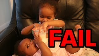 Toddler Tries To Feed and Change Baby Sister