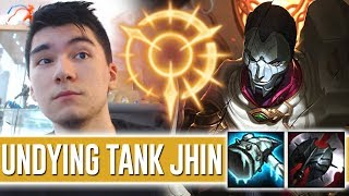 TANK JHIN TOP WITH THE NEW PRESS THE ATTACK KEYSTONE HAS A HUGE EXECUTE [ 3000 HP MORE AD THAN ADC ]