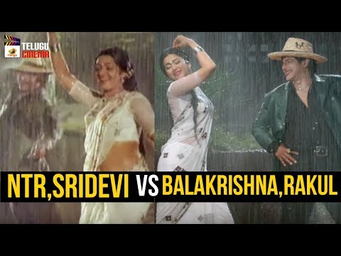 Sr NTR and Sridevi VS Balakrishna and Rakul Preet | Aaku Chatu Video Song | NTR Kathanayakudu Movie