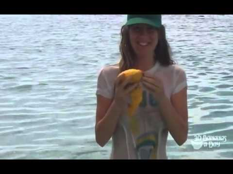 How to eat a mango fruitarian style. Wet T-shirt.