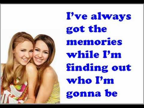 Miley Cyrus ft. Emily Osment - Wherever I go lyrics on the screen