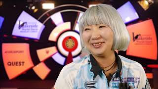 Mikuru Suzuki after Defeating Lisa Ashton 2-0 on the Lakeside Oche