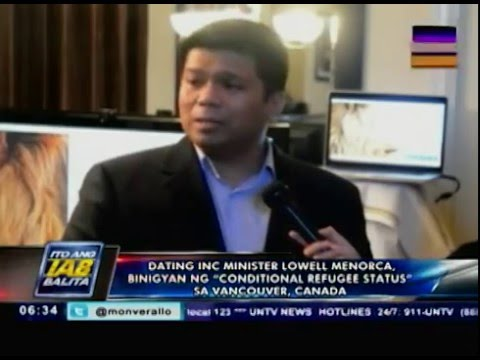 """Ex-INC minister Lowell Menorca, binigyan ng """"conditional refugee status"""" sa Vancouver, Canada"""